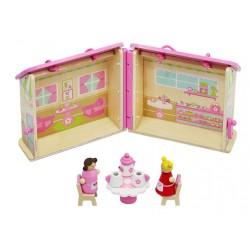 Prenosný drevený domček pre bábiky