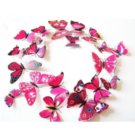DR Nálepka / magnetka motýle Ružová