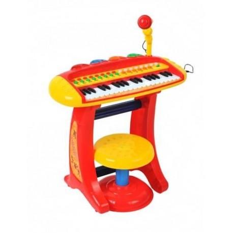 Klavír s mikrofónom pre deti - červený