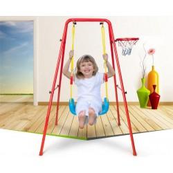 7936 Kovová záhradná hojdačka s basketbalovým košom červená