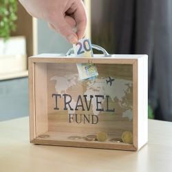 Drevená pokladnička kufor TRAVEL