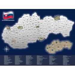 Stieracia mapa Slovenskej Republiky 80 x 60 cm