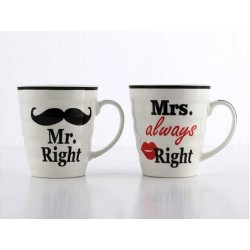 Hrnčeky Mr right a Mrs always right 250ml 2ks
