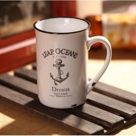 Porcelánový retro hrnček - Ocean