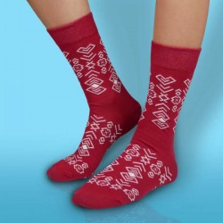 Veselé ponožky HESTY - Čičman bordový