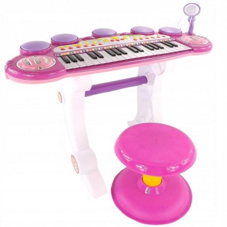 DR Klavír pro děti s mikrofonem a taburetkou