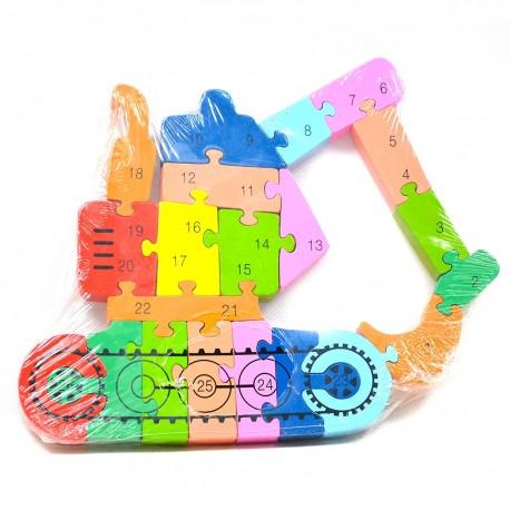 118714 DR Detské drevené puzzle žeriav 3D - 21 dielikov