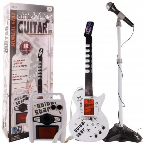 9010 DR Bezdrôtová elektrická gitara s mikrofónom a zosilňovačom Biela