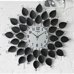 Nástenné hodiny Black Flower Crystal