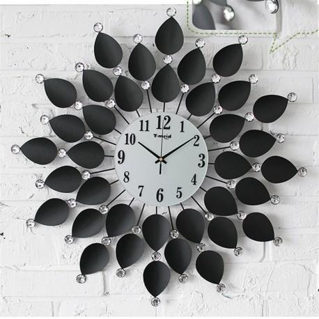 1204 DR Nástenné hodiny Black Flower Crystal