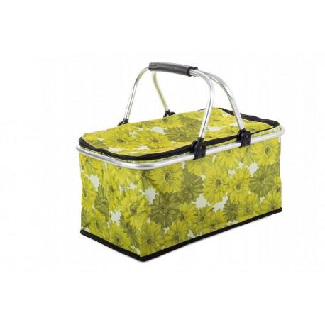 14195 DR Termo skladací piknikový košík kvietkovaný Zelená