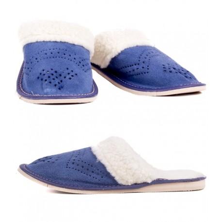 Dámske kožené papuče - Modrá ( D0013 )
