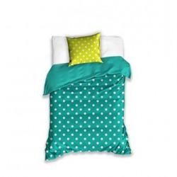 Bavlnené posteľné obliečky Bodky na zelenom 140x200, 70x80