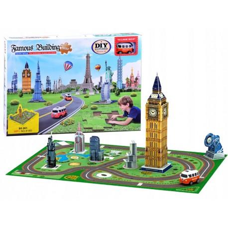 ZA2536 DR DIY - 3D puzzle Big Ben s podložkou a autíčkom