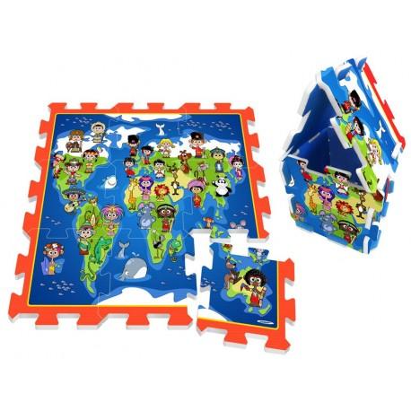 ZA3149 DR Penové puzzle na zem - Mapa sveta 9ks