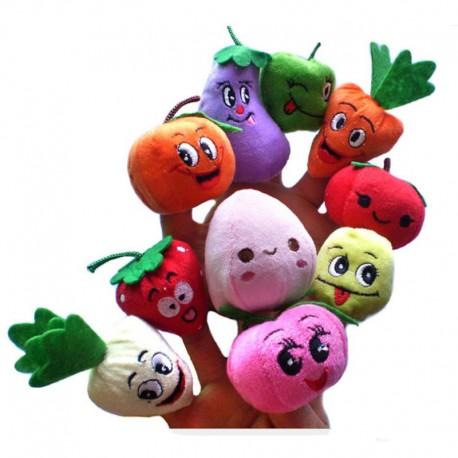 9757 DR Plyšové bábky na prsty - ovocie a zelenina - 10ks