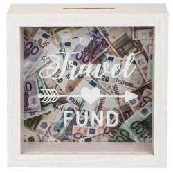 Drevená pokladnička - Travel Fund