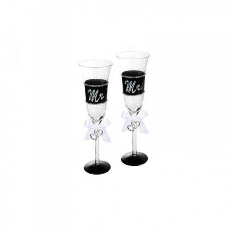 Mr a Mrs poháre na šampanské 2ks