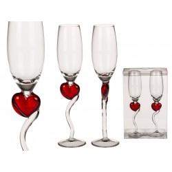 Poháre na šampanské s červeným srdcom