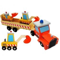 Drevený kamion s bagrami