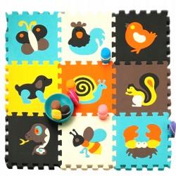 Farebné penové puzzle 30 x 30 cm - EVA 9ks