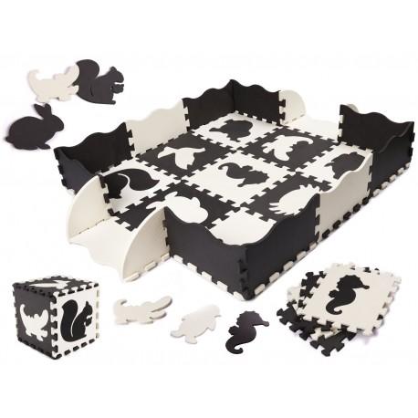 Penové puzzle na zem - čierno - biele - 25ks