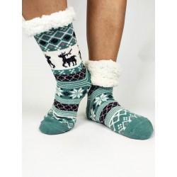 Termo dámske protišmykové ponožky 20-02 trblietavý sobík mentolové