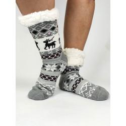 Termo dámske protišmykové ponožky 20-02 trblietavý sobík sivé