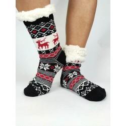 Termo dámske protišmykové ponožky 20-02 trblietavý sobík čierne