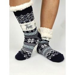 Termo dámske protišmykové ponožky 20-02 trblietavý Sobík modré