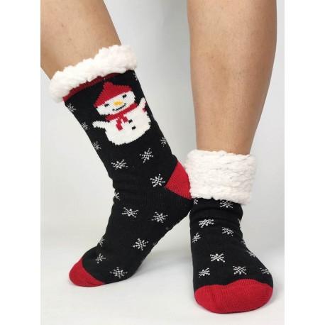 Termo dámske protišmykové ponožky 20-01 čierne Snehuliak
