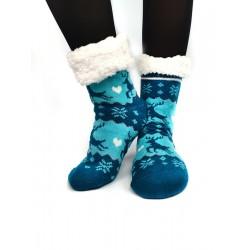 Termo dámske protišmykové ponožky sobík modré
