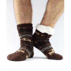 Termo pánske protišmykové ponožky 12 sobík hnedé