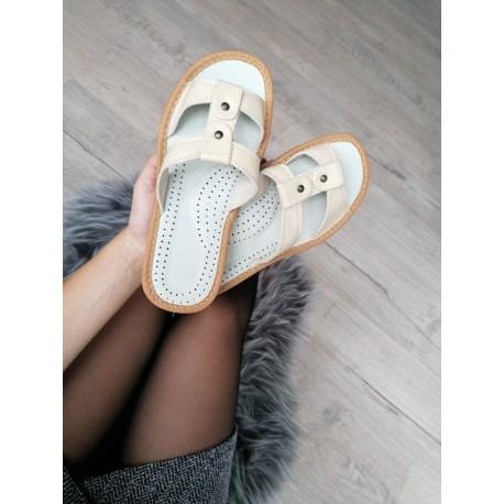 Dámske kožené papučky - béžové ( D0004 )