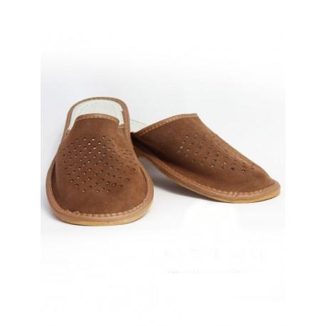 103 Pánske kožené papuče - hnedé 44