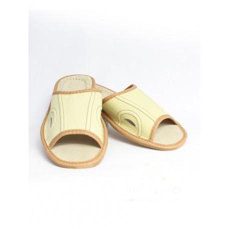 Pánske kožené papuče - Béžovo smotanová