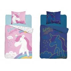 Svietiace bavlnené detské obliečky 160x200 Believe Unicorn 3347