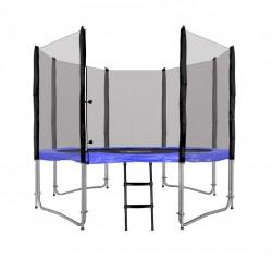 Trampolína 305 cm, modrá + ochranná sieť + rebrík