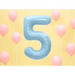 Fóliový balón - Číslo, svetlo modrý 86cm