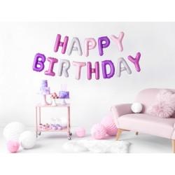 Set fóliových balónov Happy Birthday - Ružový Mix, 340x35cm
