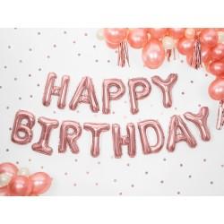 Set fóliových balónov Happy Birthday - Ružové zlato, 340x35cm