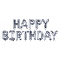 Set fóliových balónov Happy Birthday - Strieborný, 340x35cm