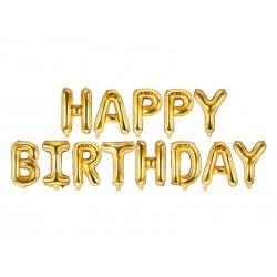 Set fóliových balónov Happy Birthday - Zlatý, 340x35cm