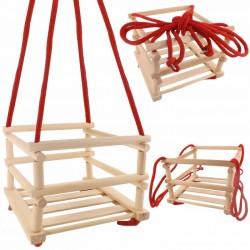Detská drevená hojdačka s ohrádkou : 27 x 33,5 x 33,5