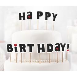 Zápich na tortu - Happy Birthday! - čierny