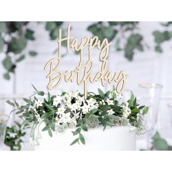 Drevený zapich na tortu - Happy Birthday, 16,5cm