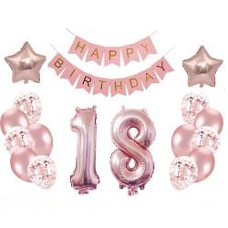 Set balónov - výzdoba - 18 narodeniny, 17ks Ružové zlato