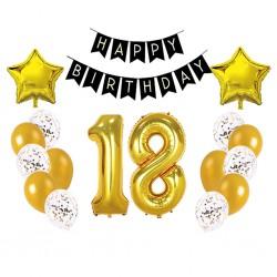 Set balónov - výzdoba - 18 narodeniny, 17ks Zlaté