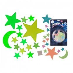 Fluorescenčný mesiac a hviezdy universe 15 kusov