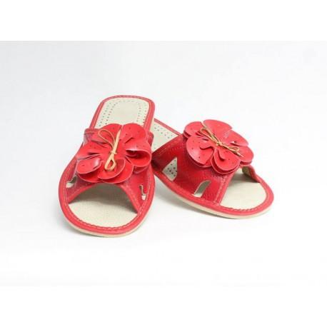 Papuče dámske kožené -model 57 červený kvet